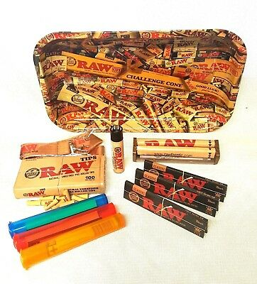 RAW MIX TRAY 3 Pks Black King Size Rolling Papers Pre Rolled Tips (BUNDLE)
