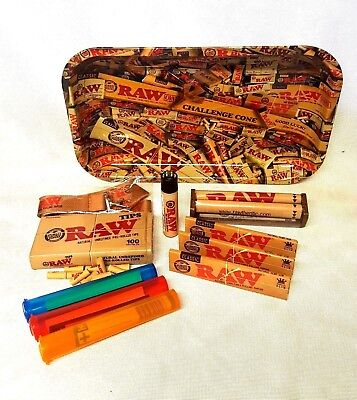RAW MIX TRAY 3 Pks Classic King Size Slim Rolling Papers Pre Rolled Tips BUNDLE