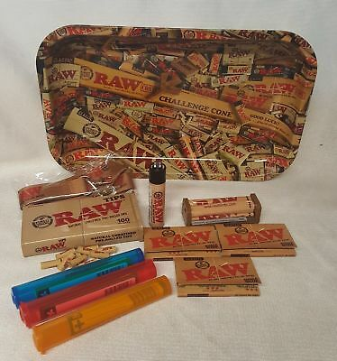 RAW MIX TRAY 3 Pks Classic Single Wide Rolling Papers Pre Rolled Tips (BUNDLE)