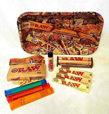 RAW MIX TRAY 3 Pks Organic King Size Rolling Papers Pre Rolled Tips BUNDLE