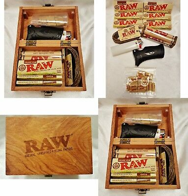 Raw Rolling Papers 1 1/4 Organic Small Wood Box Bundle Toker Poker Roller & More