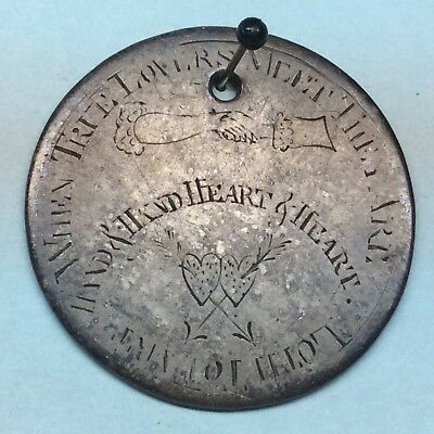 Engraved 1836 Silver Love Token Colonial Folk Art Hearts, Hand-Holding Antique