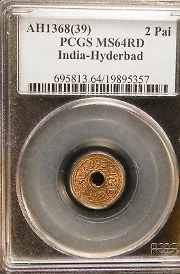 PCGS MS 64 RD - **AH 1368(39)** - **India Hyderabad**  2 Pai  MS64 RED