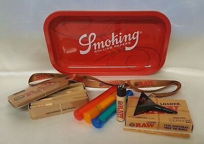 "Smoking Tray 6.25""X10.5"" 1 1/4 LEAN CONES BUNDLE RAW LOADER TIN 20 CONES LANYARD"