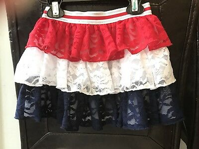 Baby Toddler Girl Fourth Of July Red White Blue Tiered Skirt Bottoms 2T EUC