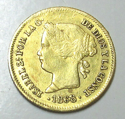 1868 1 Peso Isabel Ii Gold Coin, Philippines, Spain, Km-142