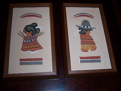 VTG Mexican Folk Art Pictures-Beautifully Framed-Colored Sand Design-Nice Cond