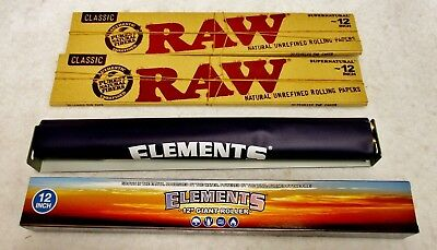 """TWO Packs RAW CLASSIC FOOT LONG 12"""" Cigarette Rolling Papers & Elements Roller"""