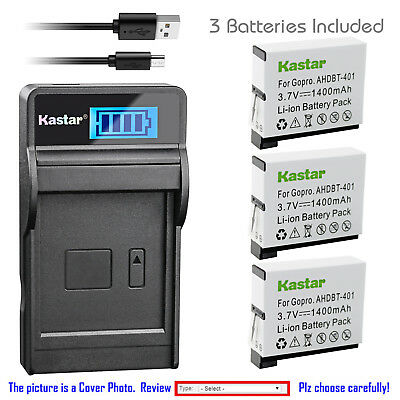 Kastar Battery LCD Charger Replace Genuine Gopro AHDBT401 Hero4 HD Black Silver