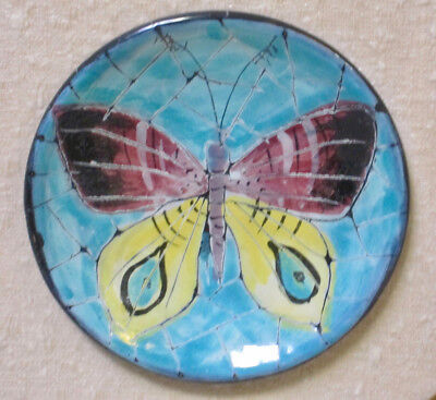 SAN POLO 1950s Venicia Italy Ceramic Bowl Vintage Butterfly Hand-Painted Framed