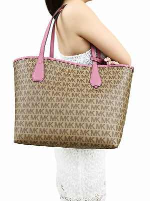 ebba8e7be903 Michael Kors Candy Large Reversible Tote Brown Khaki Signature Tulip Pink  Pouch