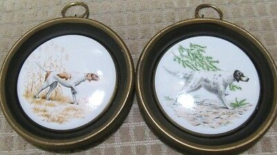 "Vintage (2) Pointer Dogs Porcelain Ceramic Wall Hanging 4"" Round Plaques"