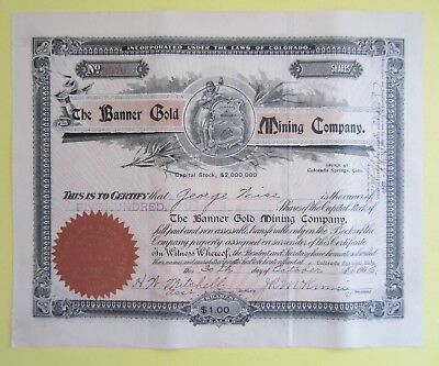 old stock certificate - The Banner Gold Mining Company