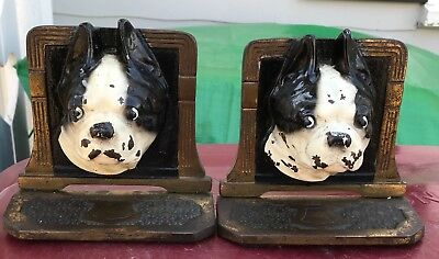 Cast Iron Boston Terrier Dog Head Bookends w/bell ~ HUBLEY or JUDD ~ painted
