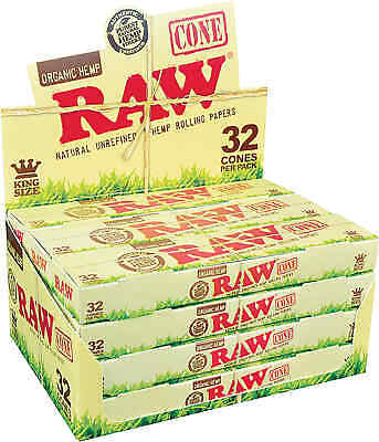 12 Packs of 32 Cones Ea. RAW Organic Hemp Paper Pre-Rolled Cones King's
