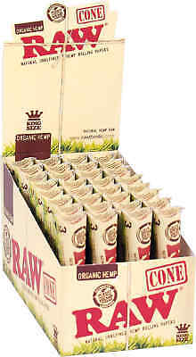 32 Packs of 3 Ea. Classic RAW Rolling Paper Cones Organic Hemp Pre-Rolled King's