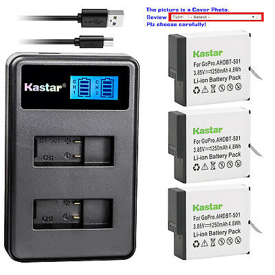 Kastar Battery LCD Dual Charger for GoPro AHDBT-601 Hero 6 & GoPro HERO6 Black