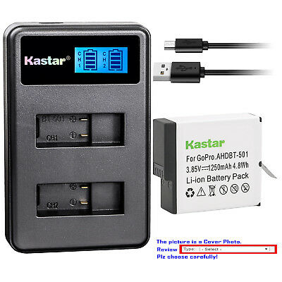Kastar Battery LCD Dual Charger for GoPro AHDBT-601 Hero 6 GoPro Hero6 HD Silver