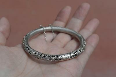 Old Chinese Sterling Silver Bracelet Bangle Dragon & Calligraphy