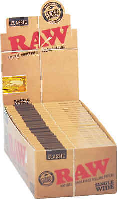25 Booklets RAW Classic Natural Unrefined Cigarette Rolling Papers Single Wide