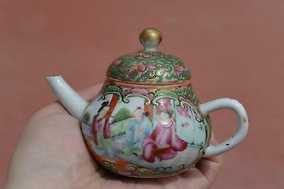 1900's Chinese Famille Rose Medallion Porcelain Miniature Teapot Figure AS IS