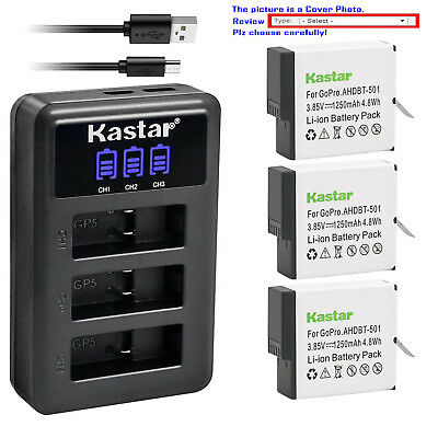 Kastar Battery LCD Triple Charger for Genuine Gopro AHDBT-501 Hero 5 HD Black