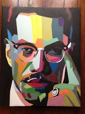 Malcolm X Hand Colored Canvas Print - African American Art