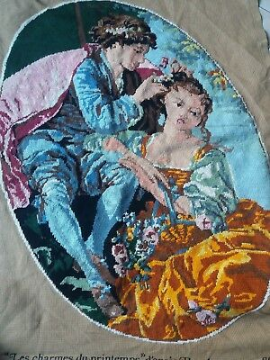 """ANTIQUE Needlepoint Hand Embroidered Tapestry Gobelin 17""""x23.5"""" Completed French"""