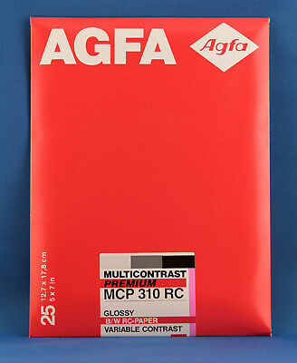Agfa  5x7 Premium Multicontrast Glossy RC, B&W Photo Paper, MCP 310 RC - 25 sht.
