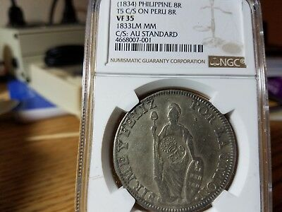 (1834) Philippines 8 Reales F70 Counterstamp on 1833LM MM Peru,VF35