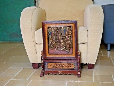 Rare Antique Chinese Gold Plated Carved Wood Panel Picture and its stand