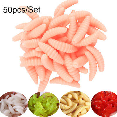 50Pcs Silicone Fishing Lures Baits Maggots Worms Fish Tackle Accessories