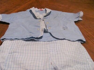Vintage Baby Boy Outfit - Diaper Top & Cloth Covered Rubber Pants