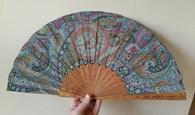 Vintage Chinese Carved Wood And Textile Fan