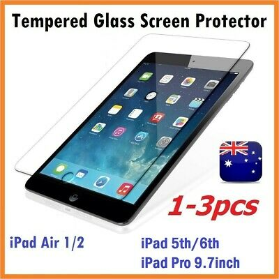 1-3pc Scratch Resist Tempered Glass Screen Protector for iPad Air 1/2 (Clear)