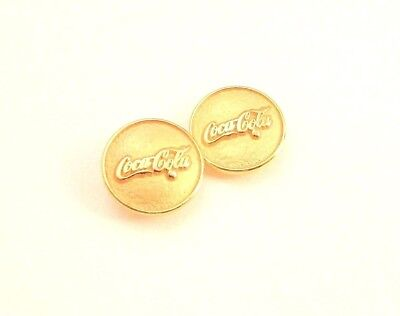 Pair of Gold Tone Metal Coca Cola Buttons - Trademark Logo - Excellent Condition