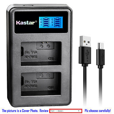 Kastar Battery LCD Dual Charger for Sony NP-FW50 BC-VW1 & ILCE-6300 Alpha a6300