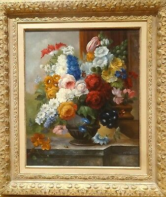 Fine Large 20th Century Dutch Flowers & Butterfly Still Life Oil Painting