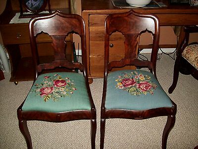Antique Chairs Needle Point Seats Set Of 2  Early 1900s