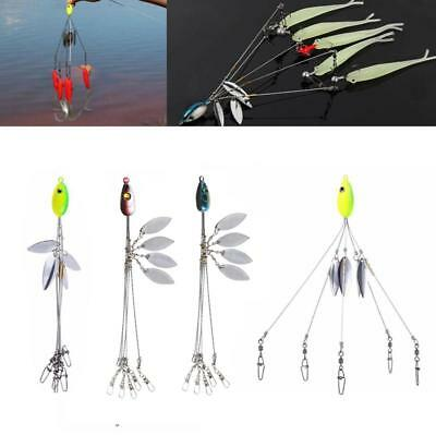 5 Arms 4 Blades Umbrella Alabama Rig For Bass Crappie Lure Fishing Bait 5Swivels