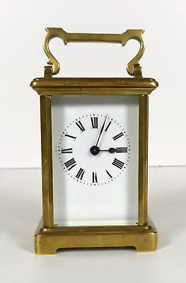 French Brass Carriage Clock Early 20th Century Good Working Order