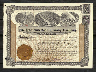 1905 Buckskin Gold Mining Company Stock Certificate NEVADA USA - Uncommon Stamps