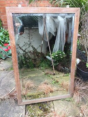 Large Antique Oak Mirror Bevaled Naturaly Aged Distressed Interior