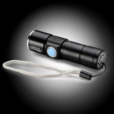 Rechargeable  USB Ultra Bright LED Torch with Beam Focusing Zoom Uk Stock