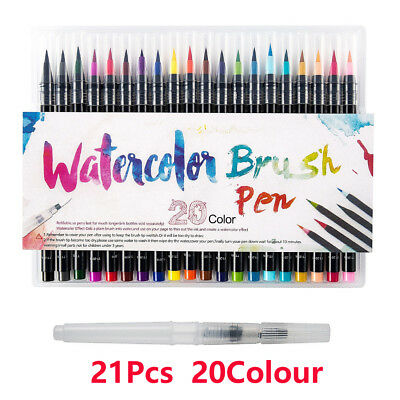 20 Colors Art Oil Watercolor Drawing Painting Brush Sketch Manga Pen Set UK