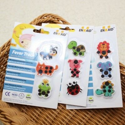 Infant Baby Kids Body Fever Thermometer Cartoon Animal Stickers Temperature Care
