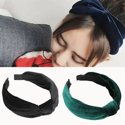 6bd4e9fc8b8da Womens Velvet Headband Twist Hairband Bow Knot Cross Tie Headwrap Hair Band  Hoop