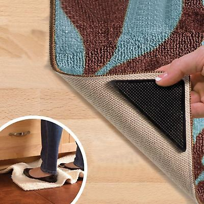 New 4pcs Rug Carpet Mat Grippers Non Slip Anti Skid Reusable Silicone Grip Pads