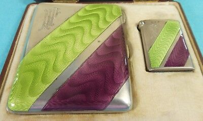 Art Deco Sterling Silver Guilloche Enamel Cigarette Case Vesta Georg Adam Scheid