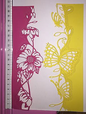 Die Cuts! 4 Pc  'Love Is In The Air Butterfly / Floral' Card Topper Coloured